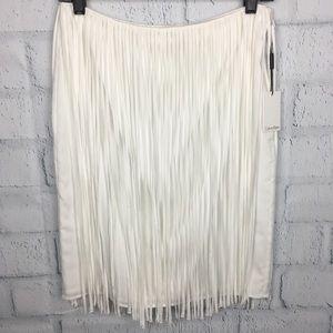 Calvin Klein White Fringe Skirt Side Zip Size 6